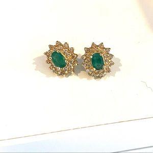 Macy's Gold diamond emerald green stud earring